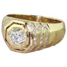 "Art Deco 1.45 Carat Old Cut Diamond ""Hexagonal"" Ring, circa 1940"