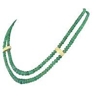 Late 20th Century Double Strand Emerald Bead Necklace, circa 1980