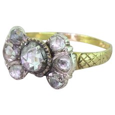 Georgian 1.10 Carat Rose Cut Diamond Seven Stone Ring, circa 1820
