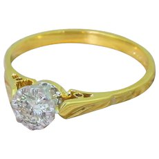 Late 20th Century 0.33 Carat Round Brilliant Cut Diamond Engagement Ring, dated 1981