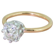 Mid Century 1.83 Carat Old Cut Diamond Engagement Ring, circa 1950