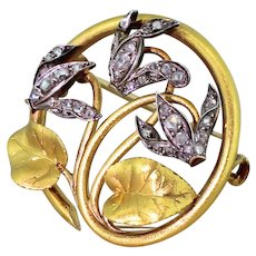 Art Nouveau Rose Cut Diamond Cyclamen Brooch, circa 1890