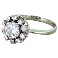 Retro 1.16 Carat Old Cut Diamond Cluster Ring, circa 1950