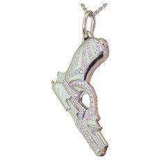 GARRARD Jade Jagger Diamond Pistol Pendant, 18k White Gold