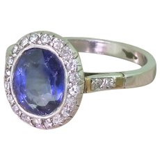 Mid Century 3.00 Carat Natural Sapphire & Diamond Ring, circa 1955