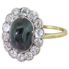 Edwardian 4.00 Carat Cabochon Sapphire & Old Cut Diamond Ring, circa 1905