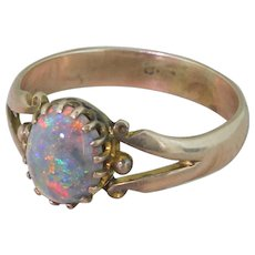 Victorian Black Opal Solitaire Ring, circa 1900