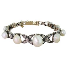Early Victorian Natural Pearl, Rose Cut & Old Cut Diamond Bracelet, circa 1850