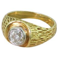 Retro 0.96 Carat Old Cut Diamond Solitaire Ring, circa 1945