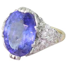 Art Deco 8.23 Carat Natural Ceylon Sapphire Ring, circa 1920