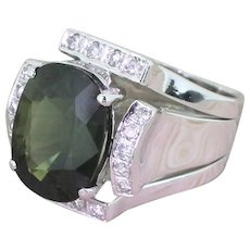 Mid Century 7.61 Carat Cushion Cut Natural Green Sapphire Ring, circa 1960