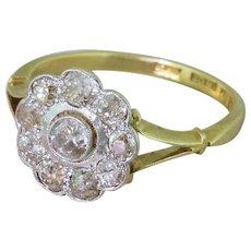 Edwardian 0.72 Carat Old Cut Diamond Target Cluster Ring, circa 1910