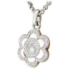 CHOPARD Happy Diamonds Flower Pendant, 18k White Gold