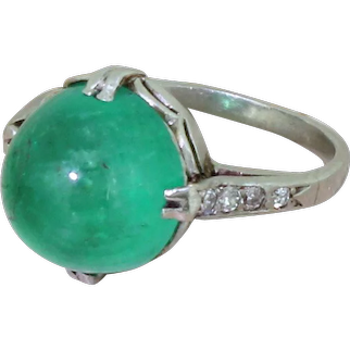 Art Deco 5.69 Carat Colombian Cabochon Emerald Ring, circa 1930