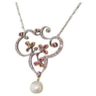 Art Nouveau Ruby, Diamond & Natural Pearl Pendant, circa 1900