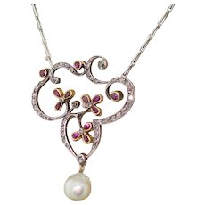Art Nouveau Ruby, Diamond & Natural Pearl Pendant, circa 1900