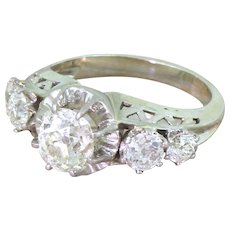 Retro 2.42 Old Cut Diamond Five Stone Ring, French, circa 1955