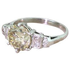 Art Deco 2.50 Carat Light Brown Transitional Cut Diamond Engagement Ring, circa 1945
