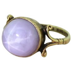 Edwardian 11.36 Carat Lilac Star Sapphire Solitaire Ring, dated 1913