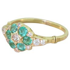 Mid Century 0.66ct Emerald & Old Cut Diamond Cluster Ring, circa 1960
