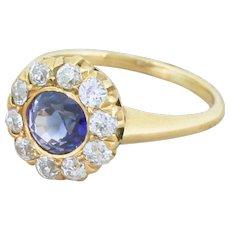 Art Deco 1.23 Carat Sapphire & Old Cut Diamond Cluster Ring, circa 1935