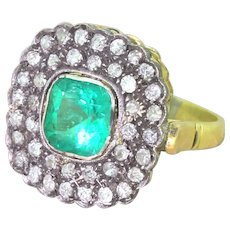 Victorian 1.46 Carat Colombian Emerald & Old Cut Diamond Cluster Ring, circa 1890