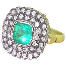 Victorian 1.46 Carat Colombian Emerald & Old Cut Diamond Cluster Ring, circa 1890