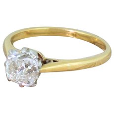 Art Deco 1.38 Carat Old Cut Diamond Engagement Ring, circa 1940