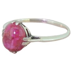 Art Deco 3.34 Carat Cabochon Natural Ruby Solitaire Ring, circa 1925