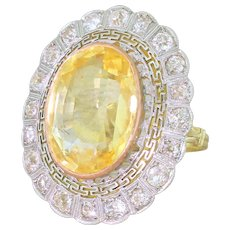 Art Deco 21.57 Carat Ceylon Yellow Sapphire & Old Cut Diamond Ring, circa 1935