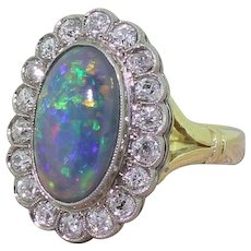 Art Deco Black Opal & 1.50 Carat Old Mine Cut Diamond Cluster Ring, circa 1925