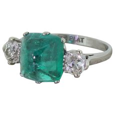 Art Deco 4.02 Carat Cabochon Emerald & 1.01 Carat Diamond Ring, circa 1930