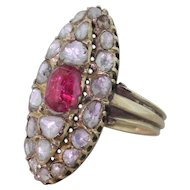 Georgian Ruby & Rose Cut Diamond Navette Ring, circa 1830