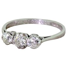 Art Deco 0.65 Carat Old Cut Diamond Trilogy Ring, dated 1947