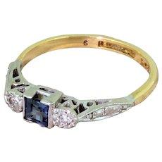 Art Deco Sapphire & Diamond Trilogy Ring, circa 1935