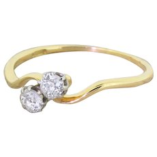 Art Deco 0.40 Carat Old Cut Diamond Crossover Ring, circa 1930