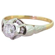 Retro 0.30 Carat Old Cut Diamond Engagement Ring, circa 1945