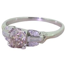 Art Deco 0.67 Carat Brownish Pink Old Cut Diamond Engagement Ring, circa 1930
