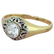 Art Deco 0.80 Carat Old Cut Diamond Solitaire Ring, circa 1940