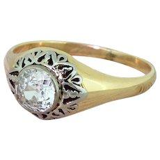 Art Deco 0.80 Carat Old Cut Diamond Solitaire Ring, circa 1940