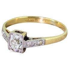 Edwardian 0.45 Carat Old Cushion Cut Diamond Engagement Ring, circa 1905