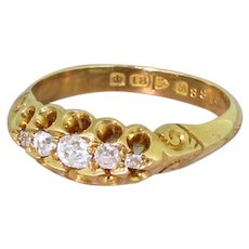Edwardian 0.35 Carat Old Cut Diamond Five Stone Ring, dated 1902