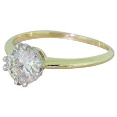 Mid Century 1.00 Carat Transitional Cut Diamond Engagement Ring, circa 1950