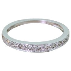 0.15 Carat Brilliant Cut Diamond Half Eternity Ring, 9k White Gold