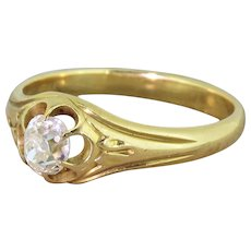 Victorian 0.59 Carat Old Cut Diamond Solitaire Engagement Ring, circa 1900