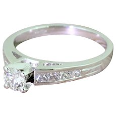 Late 20th Century 0.30 Carat Round Brilliant Cut Diamond Engagement Ring, circa 1980