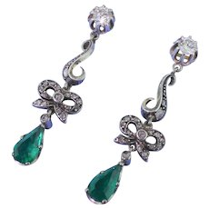 "Victorian 2.20 Colombian Emerald & Diamond ""Bow"" Drop Earrings, circa 1870"