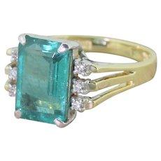 Retro 3.50 Carat Emerald Cut Emerald Solitaire Ring, circa 1950