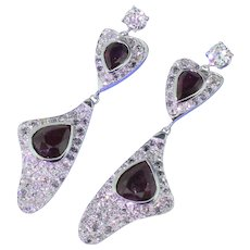 Retro 6.16 Carat Ruby & 3.06 Carat Old Cut Diamond Drop Earrings, circa 1945