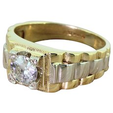 "Late 20th Century 0.61 Carat Old Cut Diamond ""Rolex"" Ring, dated 1989"